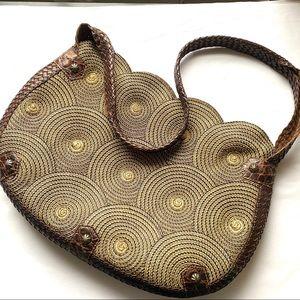Eric Javits Brown Leather & Woven Shoulder Bag